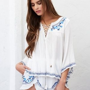 Lovers + Friends Boho Peasant Embroidered Blouse L